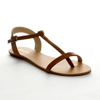 BONNIBEL MAYA-1 Women's Flat T-strap Buckle Ankle Strap Thong Sandals