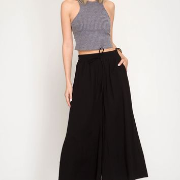 Woven Culotte Pants with Waist Drawstrings - Black