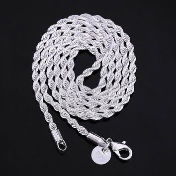 Fashion 925 Sterling Silver 3mm 16-24inch Hemp Rope Chain Necklace Italy Chains With Lobster Clasps Link for Charms Pendant Part