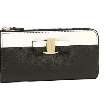 ONETOW Salvatore Ferragamo Vara Bow Zip-Around Wallet