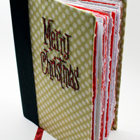 journal, notebook, sketchbook | stars with embroidery Merry Chistmas | handmade