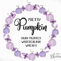 Watercolour Purple Pumpkin Flower Wreath Clipart - Lilac Hand Painted INSTANT Download Fall PNG & JPEG Autumn Leaves Digital Art Garland
