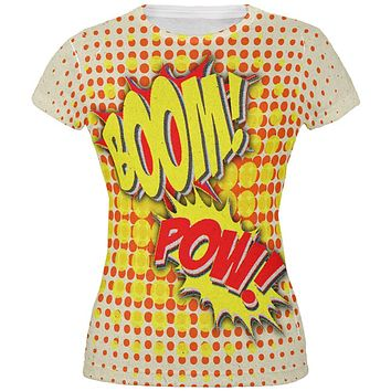 Halloween Boom Pow Vintage Comic Book Costume All Over Juniors T Shirt