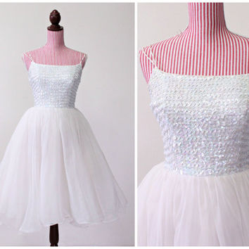 1950s Dress / VINTAGE / Wedding Dress / 50s Dress / Cupcake / Chiffon / Sequins / Prom