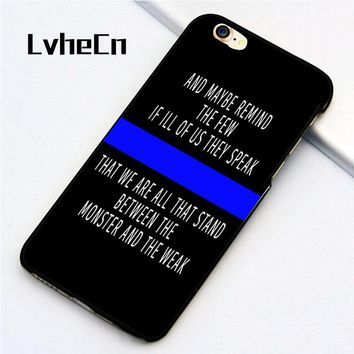 LvheCn 5 5S SE phone cover cases for iphone 6 6S 7 8 Plus X back skin shell Police Quote Thin Blue Line