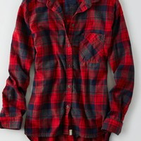 AEO Women's Canyon Boyfriend Flannel (Red)