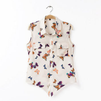 Summer Women's Fashion Butterfly Print Sleeveless Tops Blouse [6047764993]