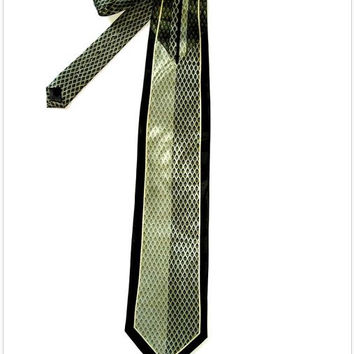 Vintage Luxury VERSAILLES Italian Art Deco Pale Shimmery Green Black Damasc All Silk Necktie