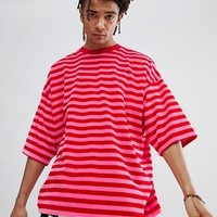 ASOS DESIGN oversized striped t-shirt in velour at asos.com