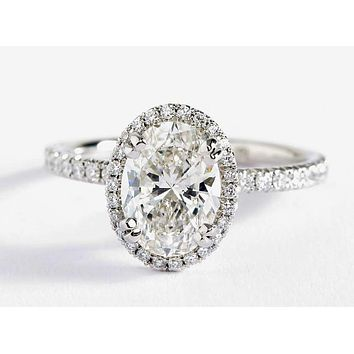 2CT Oval Cut Halo Russian Lab Diamond Engagement Ring