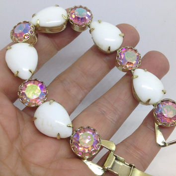 Weiss Pink Rhinestone & White Milk Glass Bracelet, 1950's Chunky Jewelry, Old Hollywood Glamour, Retro Rockabilly Collectible