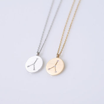 Cancer. Zodiac Constellation with very tiny CZ  Disc necklace. Birth month, June 21 - July 22. Choose your color. DoubleBJewelry.