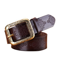 Retro Belts Women Casual Embossing Leather Belt Ladies