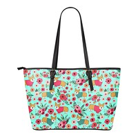 Corgi Flower Tote Bag