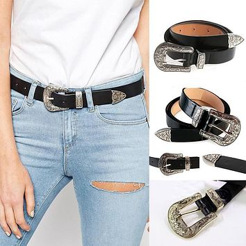 Skinny Women Vintage Carved Metal Boho Leather Single Buckle Leather Designer Waist Belt Waistband Strap female ceinture femme