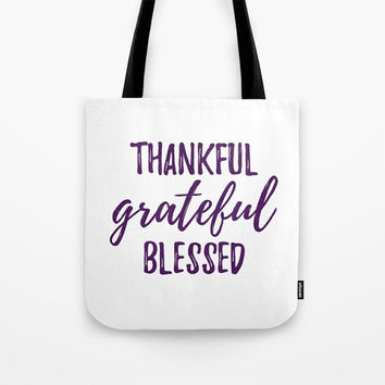 Thankful Grateful Blessed Tote, White and Purple, Thanksgiving Bag, Travel Tote, Reusable Tote Bag, Customization Available, Any Colors