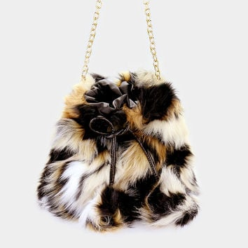 "10"" x 10"" black white ombre fluffly fur pom pom crossbody clutch bag purse pocketbook"