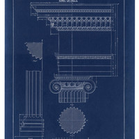 Blueprint Print, Ionic Column Drawing, Blueprint Art, Fine Art Print, Architecture, Wall Poster Art, Drawing and Illustration, Blueprint