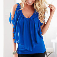 Arrival   Style  Sleeveless Irregular Chiffon Blouses Off The Shoulder Shirts  Tops Blusas Femininas