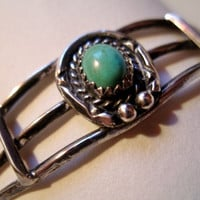 1960's Navajo Indian Old Pawn Bracelet Sterling & Turquoise