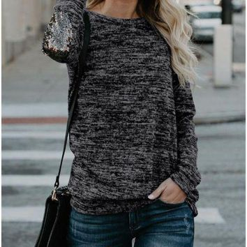 B  Chicloth Women Long Sleeve T-Shirt Sequin Patch O-Neck Contrast Casual Pullover Tops Tee