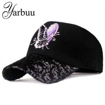 DCCKWJ7 [YARBUU]Brand baseball caps 2017 new fashion Butterfly Embroidery Peaked cap for women young lady Sequins summer sun hat cap