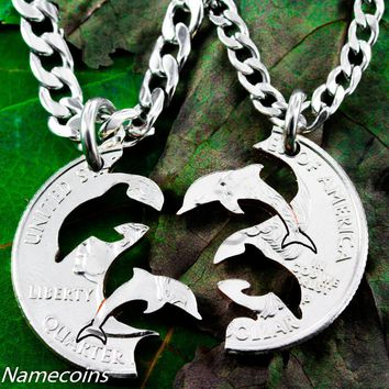 Dolphin necklace, Interlocking Relationship set, hand cut coin by NameCoins