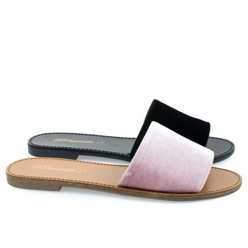 Sadie24 Pink By Breckelle's, Women Simple Flat Slide In Slippers, Open Toe Sandal In Suede & Velvet