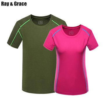 Ray Grace Summer Quick Dry Sport Shirt Men Anti Sweat Hiking Camping Trekking Running Outdoor Sport T-shirt For women