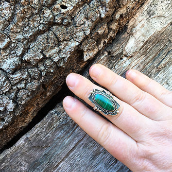 Signed Vintage Richard Begay Malachite Ring / Size 7 / Sterling Silver Southwestern Jewelry / Navajo American Indian / Boho Bohemian