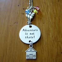 UP Inspired Necklace. Adventure is out there! House with balloons. Swarovski crystals. Hand Stamped. Silver colored. Ellie & Carl.