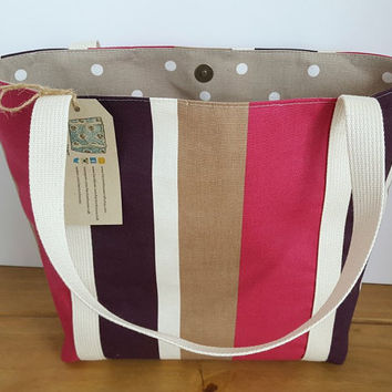 Striped Tote Bag, Pink Teacher Tote, Womens Fabric Bag, Reusable Shopper, Casual Bag, Womens Gift For Her, Knitting Project Bag