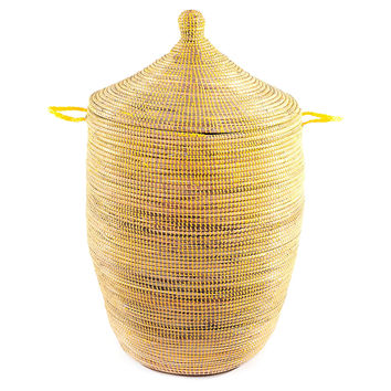 African Prayer Mat Hamper, Yellow, Large, Laundry Hampers