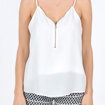 Front Zipper Cami Top