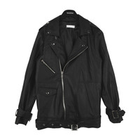 Black Boyfriend Biker Jacket by Stylenanda