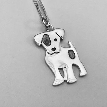 Jack Russell Terrier Necklace, Best Friend Necklace, Pet Necklace, Jack Russell Terrier Pendant. Terrier Charm, Sterling Silver Pendant