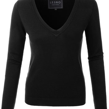 LE3NO Womens Lightweight Slim Fit V Neck Long Sleeve Knitted Sweater Top