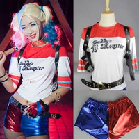 Batman Movie Suicide Squad Harley Quinn T-Shirt Shorts Cosplay Costume Set