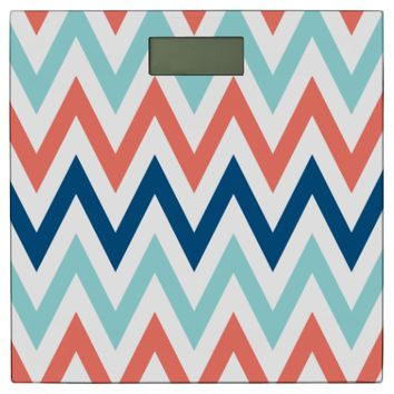 Limpet Shell Peach Echo Snorkel Blue Chevron Print Bathroom Scale