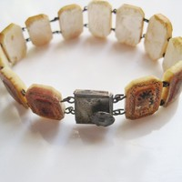 Vintage Hand Painted Mother of Pearl Bracelet with Silver Clasp