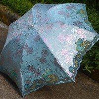 Blomiky Ladies Hollow Lace Embroidery Portable Rain Parasol Anti-uv Umbrella Blue