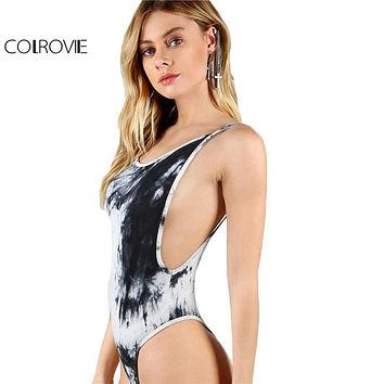 COLROVIE Low Back Thong Bodysuit Sexy Ladies Slim Bodycon Beach Cami Bodysuits  Women Scoop Neck Sleeveless Strap Bodysuit