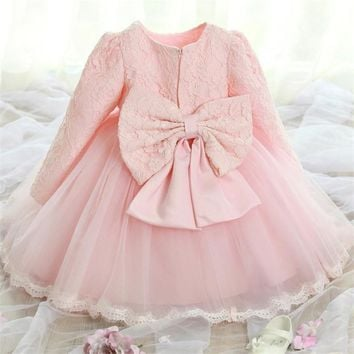 elegant princess baby girls long sleeve dress children autumn clothes baby tutu baptism dress 1 year girl christening birthday