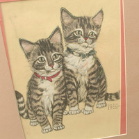 Antique 1940's cat art, vintage Gladys Emerson Cook pair of cats pastel sketch, tabby cats drawing