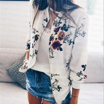 Womens Casual Boho Bommer Jacket Slim Fit Lapel Floral Printed Chinese Style Jacket Outwear Fashion Streetwear Clothes