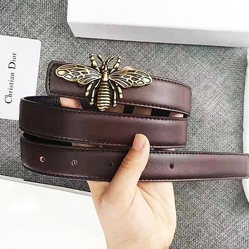 DIOR Fashion Women Men Retro Bee Buckle Belt Leather Belt With Box