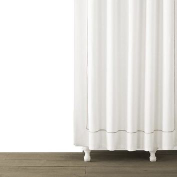Single Line Embroidered Shower Curtain | Taupe