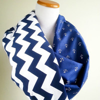 Blue Chevron Anchor infinity scarf- soft jersey knit and cotton