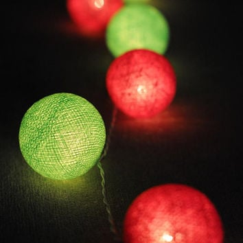 Cherry sweet and Green apple color cotton ball string light handmade lantern hanging indoor outdoor party wedding bedroom living room home