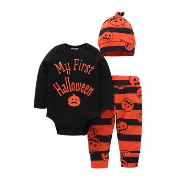 2018 my first Halloween letter print clothes for baby boy girls black rompers+pumpkin pant+hat Halloween suit Cosplay Costume